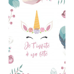 "Lot 10 invitations  ""Licorne en fête"" (10.7x13.9) +..."