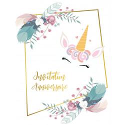 "Lot 10 invitations   ""Licorne en fleur"" (10.7x13.9) +..."