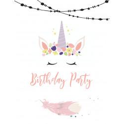 """Lot 10 invitations   """"Licorne Party"""" (10.7x13.9) +..."""